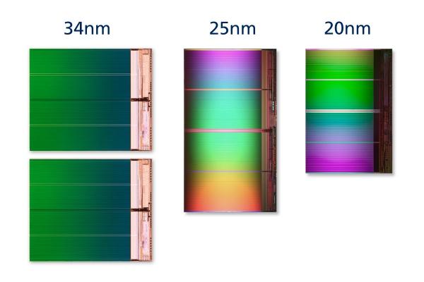 NAND Flash 20nm - porovnání velikostí výrobních technologí