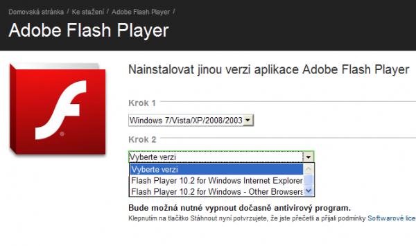 Výběr přehrávače Adobe Flash podle prohlížeče