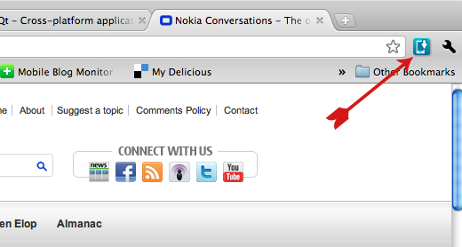 Nokia Drop vprohlížečiGoogle Chrome