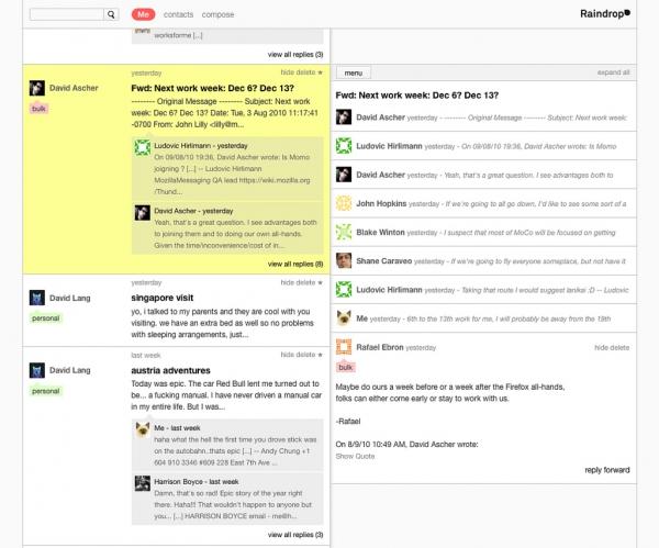 Raindrop by měl shromažďovat apořádat zprávy zrůzných internetových služeb