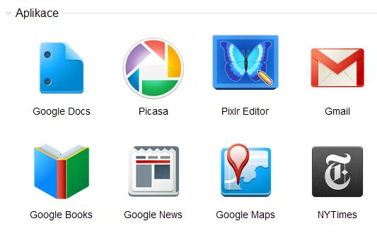 """Ikony webových """"aplikací"""" vGoogle Chrome"""