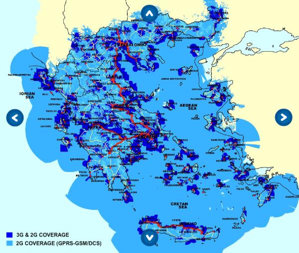Mapa pokrytí Řecka mobilní sítí Wind Hellas