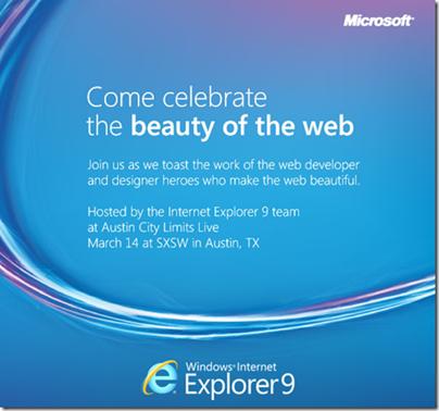 Pozvání na večírek. Téma: Internet Explorer 9