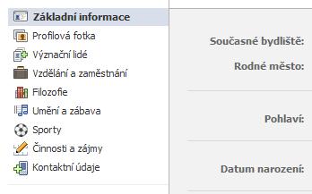 Uspořádání údajů vnovém profilu