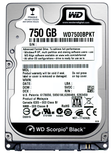 WD Scorpio Black 750 GB