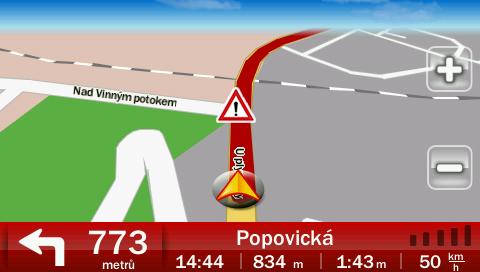 Rizikové místo zobrazené v navigaci Dynavix