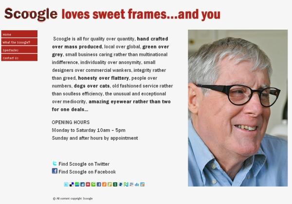 Domovská stránka společnosti Scoogle
