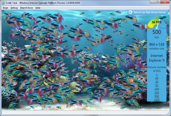 Test FishIE Tank v Internet Explorer Platform Preview 6.