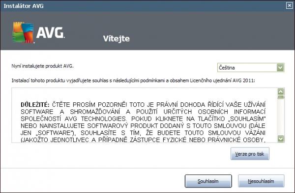 AVG Internet Security 2011 - Souhlas s obsahem licenčního ujednání