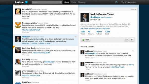 Nový web Twitteru — něčí profil