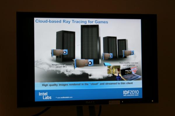 Cloud-based Ray Tracing for Games v představě Intelu – výkonné procesory spočítají scénu a zašlou ji na klienta (například notebook) pro on-line hraní.