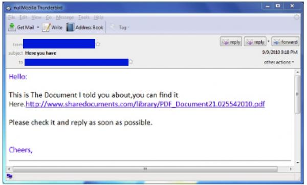 PDF v tomto e-mailu ale ve skutečnosti spouští malware...