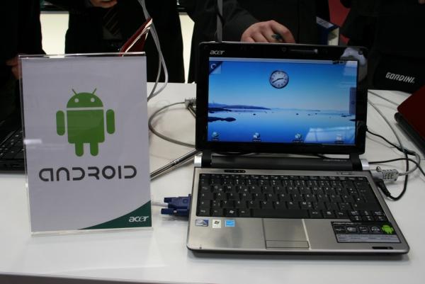 Netbook Asus Aspire One a operačním systémem Android, Atomem N270 a 160GB diskem.