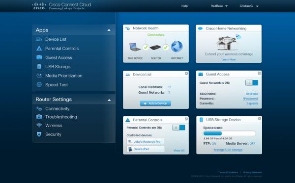 Uživatelské rozhraní Cisco Connect Cloud