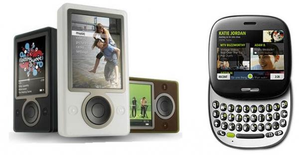 Microsoft se zatím bez úspěchu pokoušel proniknout na trh MP3 přehrávačů (přehrávač Zune - vlevo) i chytrých telefonů (KIN - vpravo).