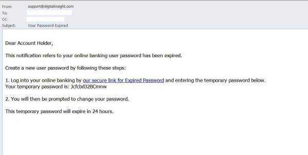 Takto může vypadat varovný email o nutné změně hesla: