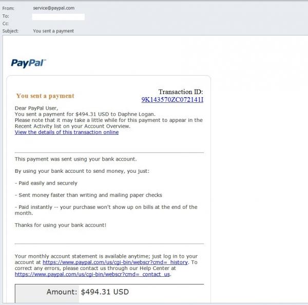 Ne, tohle skutečně není zpráva z PayPalu...
