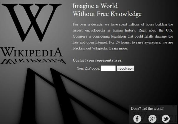 Proti návrhu SOPA se vzepřela také Wikipedia.