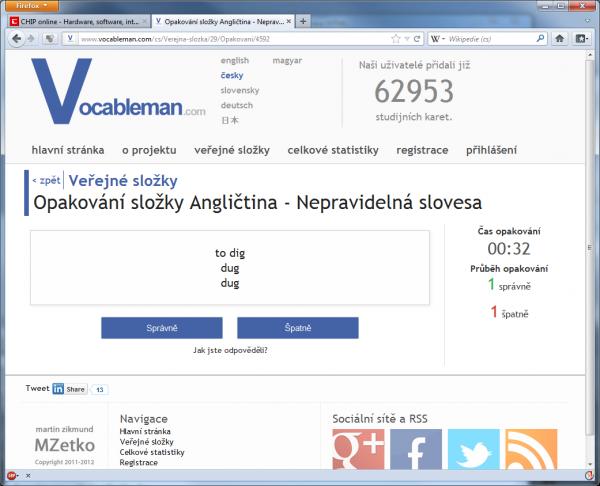 On-line studijní pomůcku Vocableman.com je možné využít především pro studium cizích jazyků, ale i jiných oborů. Usnadňuje studium pomocí ověřené kartičkové metody.