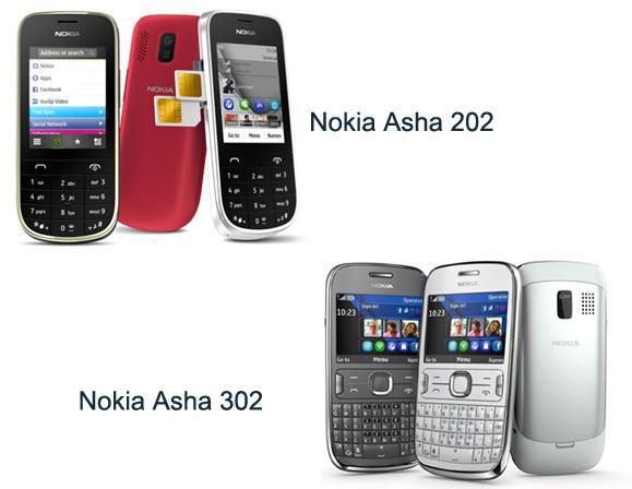Telefony Nokia Asha 202/203 a 302 nabízejí eleganci za rozumnou cenu.