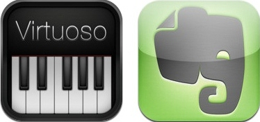 iPad: Virtuoso Piano 3; Evernote