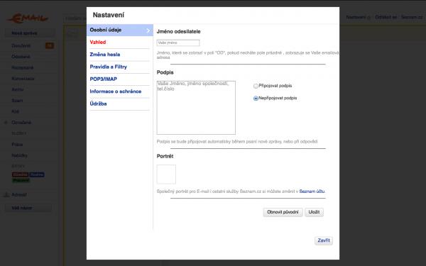 Seznam.cz - nastavení e-mailu