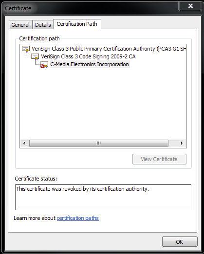 Soubory mohou předstírat, že jsou podepsány digitálním certifikátem společnosti C-Media Electronics...